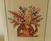 Vintage Bucilla Counted Cross Stitch Kit Sampler Stitchery Copper Coffee Pot
