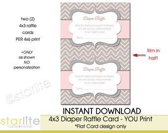 Baby Shower Diaper Raffle Cards - Pink Gray Chevron Diaper Raffle Card - 4x3 Printable Card (2 per 4x6 print) - You Print, Instant Download