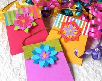 Gift Tags - handbag or purse, folded matchbook style, scrapbook journaling, in pink, purple and yellow