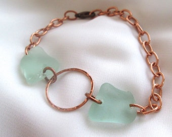 Copper and sea glass bracelet, Hammered Circle with Seafoam Light Green