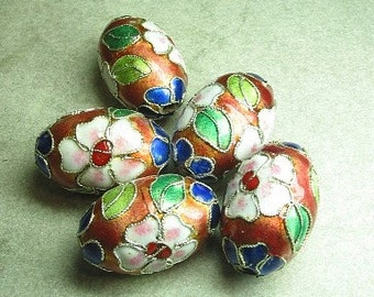 BEAD, CLOISONNE, 35mm, Large, Focal, OVAL, Enamel, Black, Rust, Red, Choice, Pink