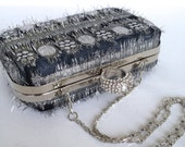 Clamshell / box / minaudiere clutch purse - silver and black fringed fabric with silver frame