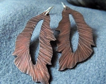 Earrings Handmade Copper Leaf and Argentium Sterling Silver