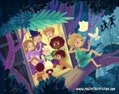 Peter Pan Lost Boys Treehouse 8x10 art print