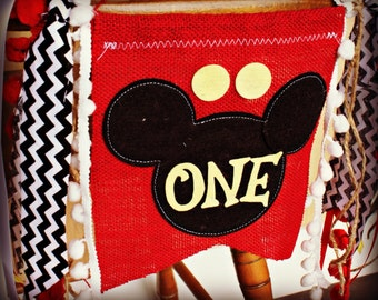 Mickey Mouse Birthday Banner...Clubhouse...Garland...Photo Prop...Birthday AGE Highchair...childrens...I am one