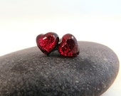 Made to Order - Fused Glass Earring Posts - Mini Red Hearts - Glass Earring Studs - Cute Valentine Earrings