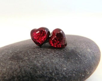 Reast to Ship - Fused Glass Earring Posts - Mini Red Hearts - Glass Earring Studs - Cute Valentine Earrings