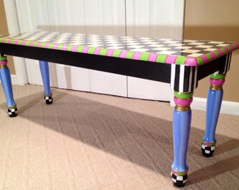 Whimsical Painted Furniture, Whimsical Painted Bench // Whimsical Painted Furniture // Alice in wonderland furniture