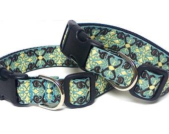 Dog collar, teal CAMELOT collar, tag collar, buckle collar, house collar, medieval dog collar, renaissance collar, buckle dog collar