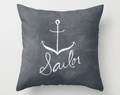 Dark Blue Sailor Anchor Ocean Typography Throw Pillow Cover Decorative Throw Pillow Minimalist Decor Text Pillow Home Decor - bellesandghosts
