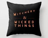 Halloween, Fall, Autumn and Seasonal Decorative Throw Pillow Cover Black and Orange Home Decor Throw Pillow Cover Black Pillow Cushion Cover
