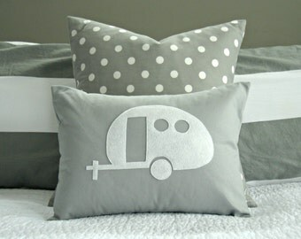 Vintage Airstream Camper Silhouette Pillow Cover - White and Grey - 12x16