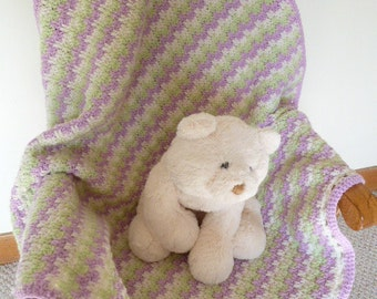 Crocheted Baby Blanket, Pinkish/Purplish Green Eggshell Striped Cozy Warm