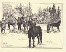 Horse Haven!This 6-pack of blank, ivory cards shows finely detailed pen-and-ink drawings of a group of Belgian work horses on a wintry day.