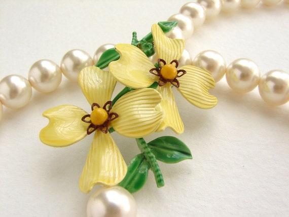 Statement necklace, buttercup flower necklace, vintage enamel dogwood brooch, chartreuse lemon flower statement jewelry gift for her