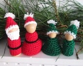 Santa, Mrs. Claus, and Two Elves Peg Dolls Playset -- Crochet Pattern -- Instant Digital Download