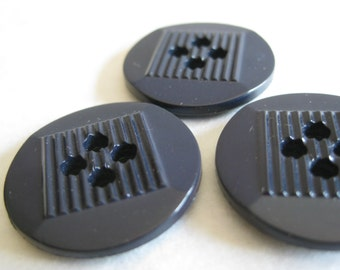 Navy Blue Buttons Plastic Vintage Three