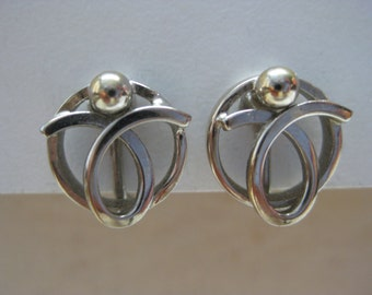 Modern Silver Gold Earrings Screw Vintage Alice