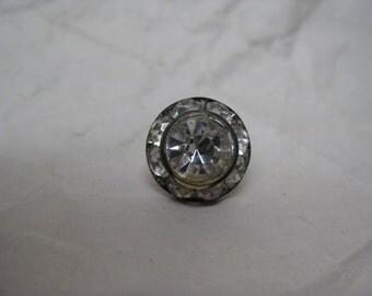Rhinestone Silver Clear Tie Tack Vintage Pin