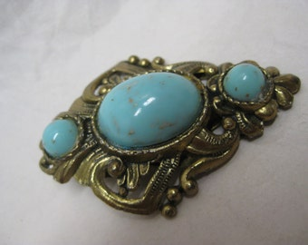 Blue Cab Gold Clip Brooch Filigree Vintage