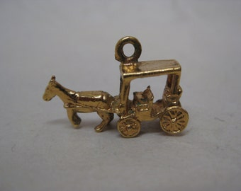 Horse Carriage Gold Sterling Charm Vintage 925 Buggy