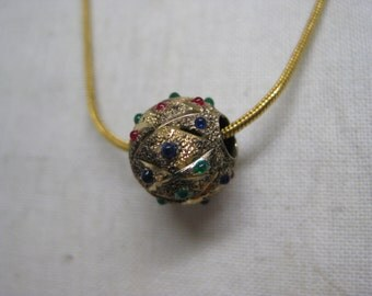Shabby Gold Red Green Blue Sterling Necklace Vintage 925 Silver