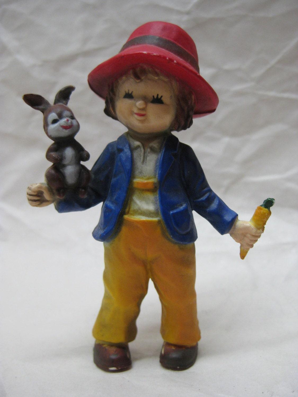 Cake Decorating Plastic Figurines : Boy Figurine Carrot Rabbit Plastic Cake Topper Vintage
