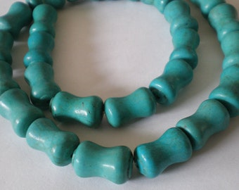 14x10mm Turquoise Howlite bone tube shape bead - 10 pcs