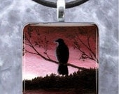 Pendant 1x1, Square, Tray, Jewelry Necklace Bird 66 Crow Raven art painting by L.Dumas