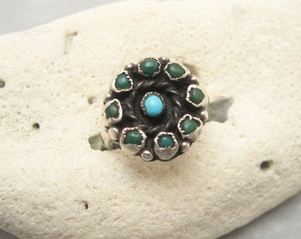 Vintage Sterling Ring Turquoise Jewelry R5843