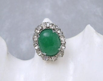 Vintage Rhinestone Ring Green Fashion Jewelry X129