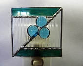 Stained Glass, Night Light, Abstract Iridescent Teal, and Textured Glass