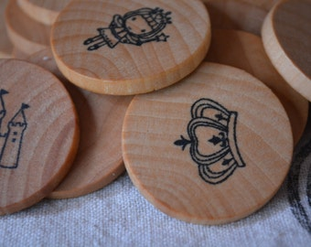 Wooden Coin Memory Matching Game - Princess Theme