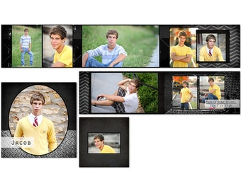 Jacob 3x3 Masculine Accordion Photo Album for High School Seniors and More - 4 Files - Photoshop Templates for Photographers - AM2002