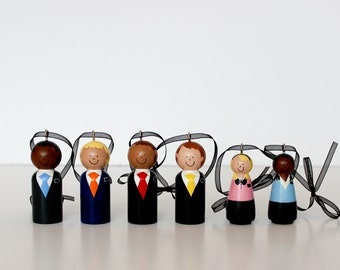 SIX Custom LDS Missionary Ornaments, Missionary District Including Sisters