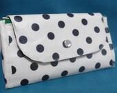 OOAK accordion double zip wallet - Black dots on white (laminated)