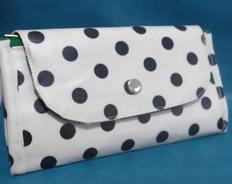 OOAK accordion double zip wallet - Black dots on white (laminated)