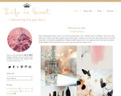 Premade Blogger Template - LIFE IS SWEET - Mobile Responsive Template - Graphic Design - Blog Template