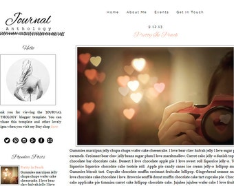 Premade Blogger Template - JOURNAL ANTHOLOGY - Mobile Responsive - Graphic Design - Blog Template