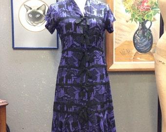 30's purple silk novelty print. STUDY. AS IS.