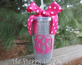 Monogram Personalized 16oz GLITTER Tumbler Cup With Lid & Straw