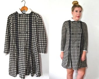 Peter Pan Collar Dress - Plaid Dress - Black and White Gingham Dress
