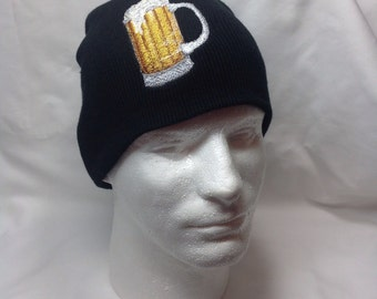 Frosted Beer Mug Beanie Skull Cap Hat