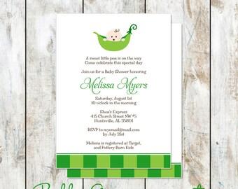 Precious Pea in a Pod Baby Shower Invitation - Pea in a pod baby shower invitation - printable baby shower invitation - green baby shower