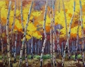 Free Shipping Joyful Essence 24x36 Original LARGE Oil Painting Impressionism Fall Autumn Aspens Birch trees Etsy Exclusive by Carl Bork