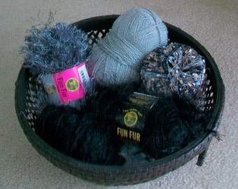 Fun Yarn Grab Bag for Scrapbooking, Kumihimo and Gift Wrapping Projects in Black, Gray and Silver Color Medley - destash by foxygknits