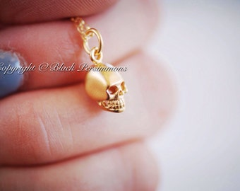 Tiny Skull Necklace - 24K Gold Plated Sterling Silver Vermeil Charm - 14K Gold Filled Delicate Chain - Insurance Included
