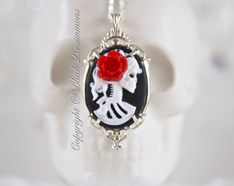 Miss Skeleton Gothic Necklace - Solid Sterling Silver American Made Setting 25x18mm Cameo - 6 Cameo Colors - Insurance Included