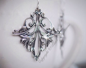 Daenerys Earrings - The Mother of Dragons - Open Filigree Flourish - Solid Sterling Silver .925 Ear Wires - Made in USA Findings