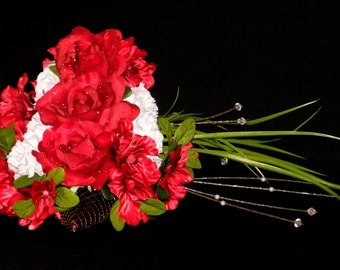 Wedding Bouquet, Silk Floral Arrangement, Red Roses, Azaleas, White Carnations, Copper Shoe, Quinceanera
